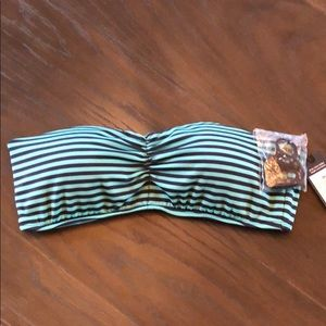 NWT Green & Blue Striped Mossimo Bikkini Top Med